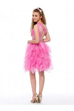 One-Shoulder Beaded Short Pink Prom Evening Formal Party Dresses ED010645