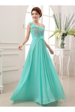A-Line One-Shoulder Beaded Long Chiffon Prom Evening Formal Party Dresses ED010647