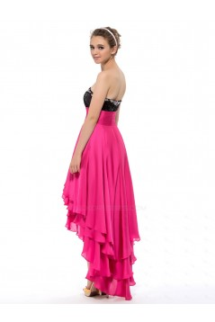 High Low Sweetheart Sequin Beaded Chiffon Prom Evening Formal Party Dresses ED010649
