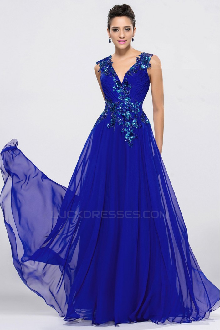A-Line V-Neck Applique Long Blue Chiffon Prom Evening Formal Party Dresses ED010650