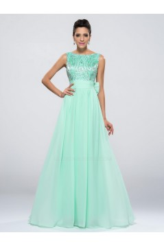 A-Line Beaded Bowknot Long Chiffon Prom Evening Formal Party Dresses ED010651