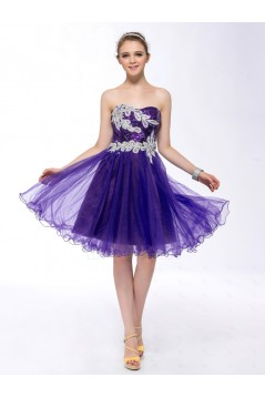 A-Line Strapless Short Purple Sequin Prom Evening Formal Party Dresses ED010652