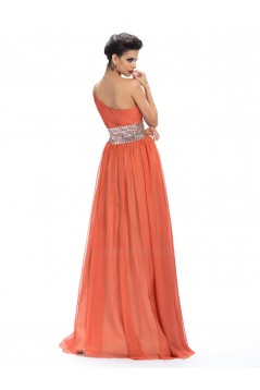 A-Line One-Shoulder Beaded Sequin Long Chiffon Prom Evening Formal Party Dresses ED010657