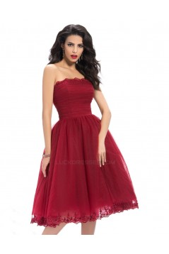 A-Line Strapless Short Tulle Prom Evening Formal Party Dresses ED010658