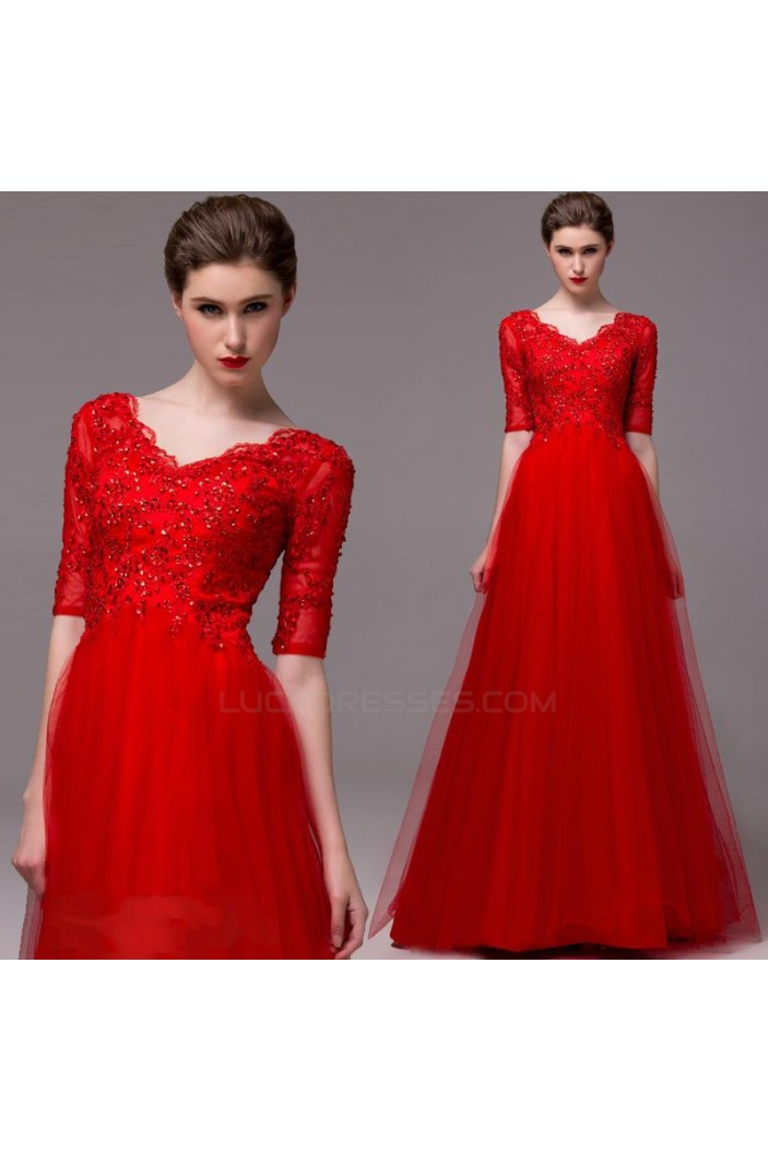 A-Line Half Sleeve V-Neck Beaded Long Red Prom Evening Formal Party Dresses ED010662