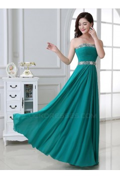 A-Line Strapless Beaded Long Chiffon Prom Evening Formal Party Dresses ED010663