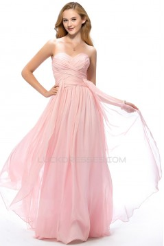 A-Line Sweetheart Long Pink Chiffon Prom Evening Formal Party Dresses ED010665