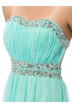 A-Line Strapless Beaded Long Chiffon Prom Evening Formal Party Dresses ED010666