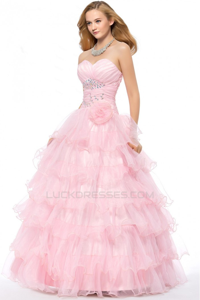 Ball Gown Sweetheart Beaded Long Pink Prom Evening Formal Party Dresses ED010667