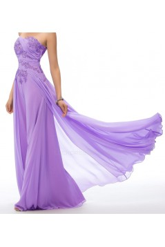 Elegant A-Line Strapless Beaded Applique Long Prom Evening Formal Party Dresses ED010668