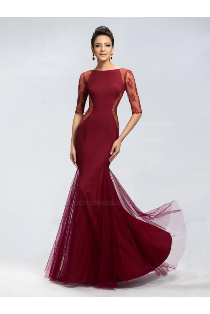 Trumpet/Mermaid Half Sleeve Bateau Lace Long Prom Evening Formal Party Dresses ED010669