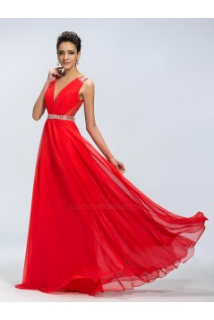 A-Line V-Neck Beaded Long Red Chiffon Prom Evening Formal Party Dresses ED010670