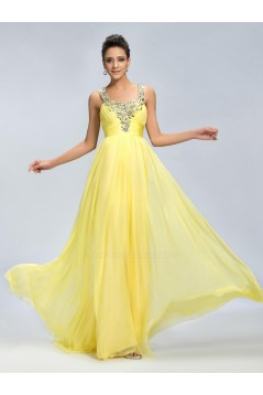 A-Line Straps Sleeveless Beaded Long Yellow Chiffon Prom Evening Formal Party Dresses ED010671