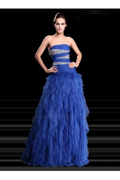 A-Line Strapless Beaded Long Blue Prom Evening Formal Party Dresses ED010672
