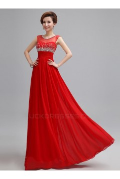 One-Shoulder Beaded Short Red Chiffon Prom Evening Formal Party Dresses ED010673