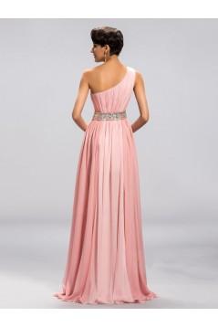 A-Line One-Shoulder Beaded Long Pink Split-Front Prom Evening Formal Party Dresses ED010676