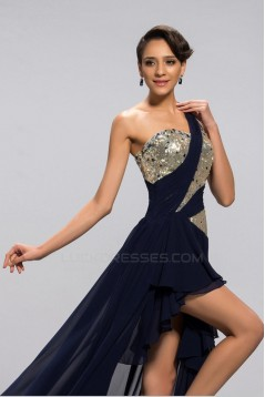 High Low One-Shoulder Beaded Sequin Short Navy Chiffon Prom Evening Formal Party Dresses ED010677