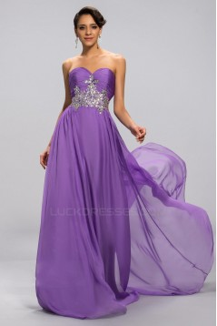 A-Line Sweetheart Beaded Long Purple Chiffon Prom Evening Formal Party Dresses ED010680