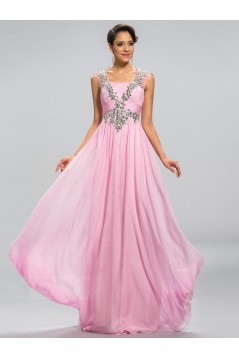 A-Line Beaded Long Pink Chiffon Prom Evening Formal Party Dresses ED010682