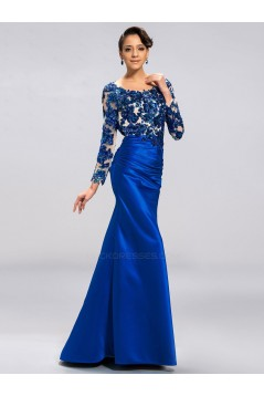 Trumpet/Mermaid Long Sleeves Long Blue Prom Evening Formal Party Dresses ED010685