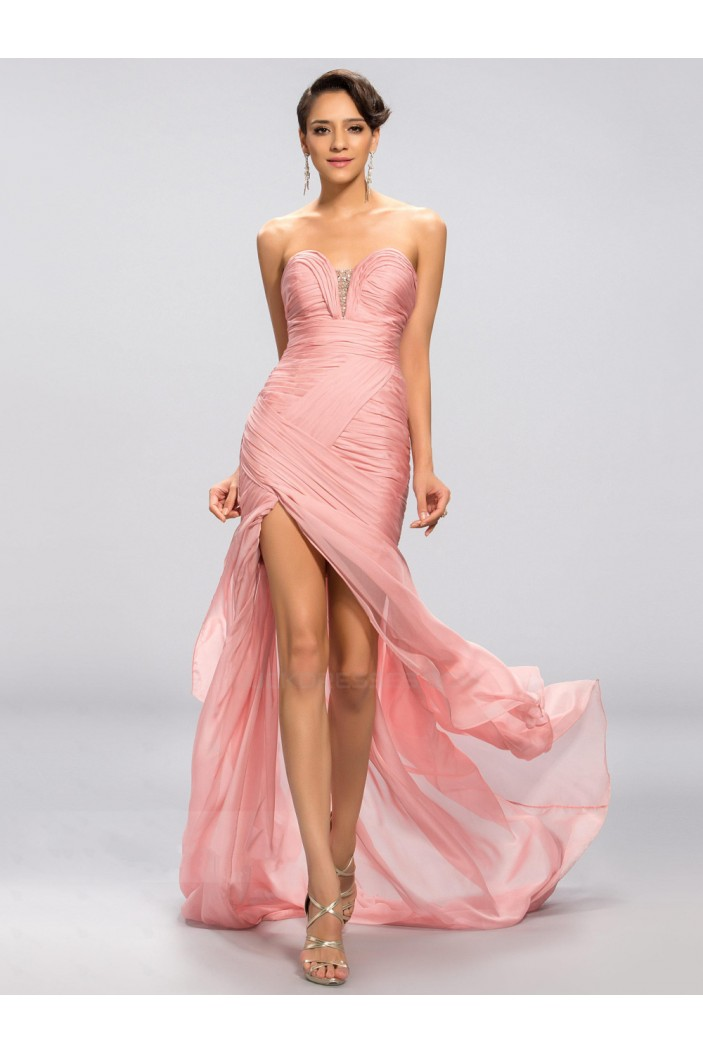 Sheath Sweetheart Split-Front Beaded Long Pink Chiffon Prom Evening Formal Party Dresses ED010686