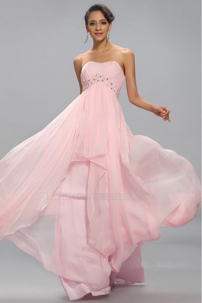 Empire Strapless Beaded Long Pink Chiffon Prom Evening Formal Party Dresses Maternity Evening Dresses  ED010687