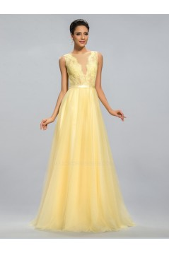 A-Line Bateau Long Yellow Lace and Chiffon Prom Evening Formal Party Dresses ED010688
