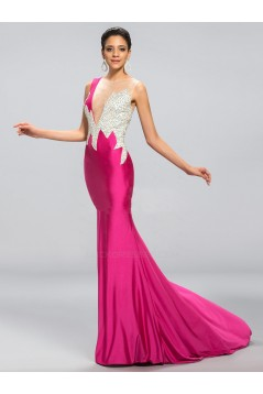 Trumpet/Mermaid Bateau Beaded Long Prom Evening Formal Party Dresses ED010689