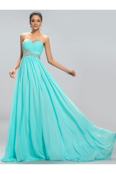 A-Line Sweetheart Beaded Long Blue Chiffon Prom Evening Formal Party Dresses ED010690
