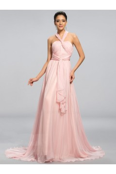 A-Line Long Pink Chiffon Prom Evening Formal Party Dresses ED010691