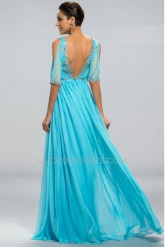 A-Line V-Neck Short Sleeve Beaded Long Blue Chiffon Prom Evening Formal Party Dresses ED010692