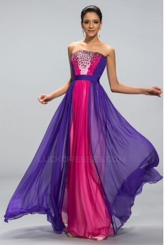 A-Line Strapless Beaded Long Chiffon Prom Evening Formal Party Dresses ED010693