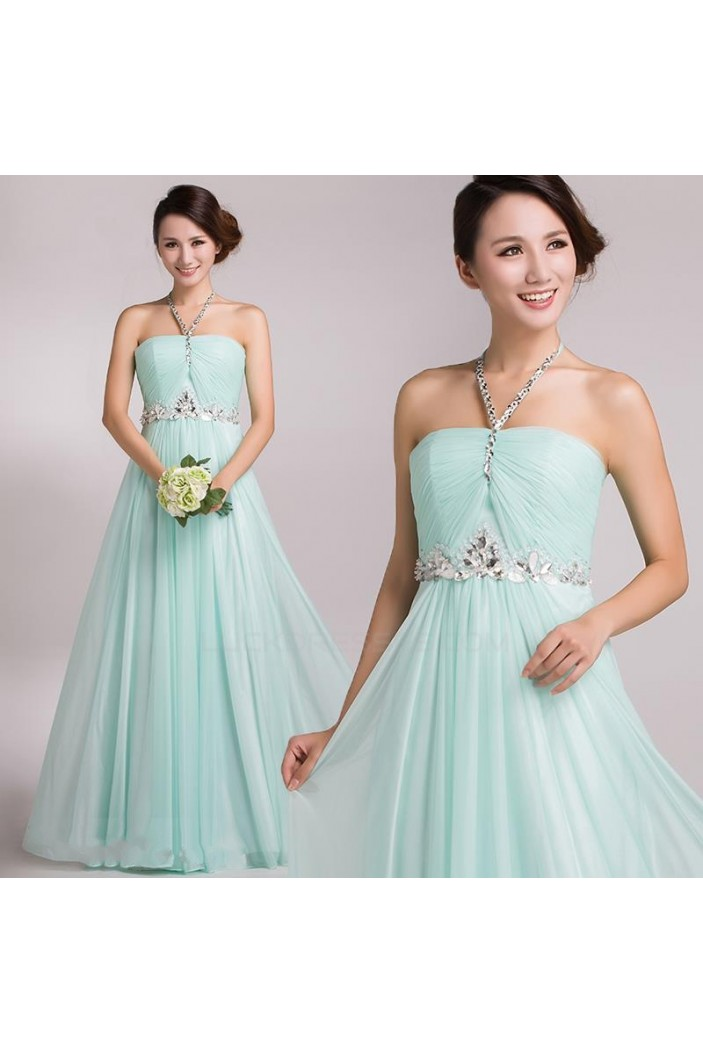 A-Line Halter Beaded Long Chiffon Prom Evening Formal Party Dresses ED010694