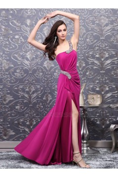 Trumpet/Mermaid One-Shoulder Split-Front Beaded Long Prom Evening Formal Party Dresses ED010695