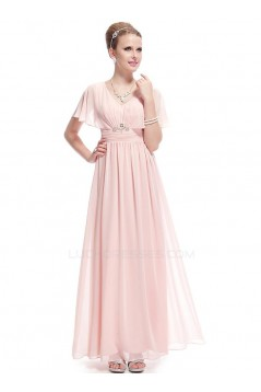A-Line V-Neck Long Pink Chiffon Prom Evening Formal Party Dresses ED010697