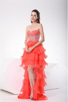 High Low Sweetheart Beaded Chiffon Prom Evening Formal Party Dresses ED010698