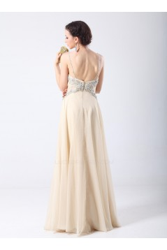 A-Line Spaghetti Strap Beaded Long Chiffon Prom Evening Formal Party Dresses ED010701