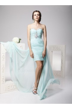 High Low Sweetheart Beaded Short Chiffon Prom Evening Formal Party Dresses ED010702