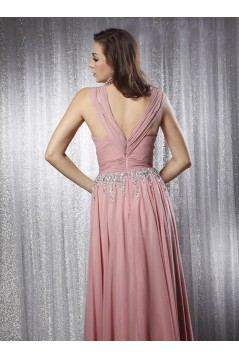 A-Line Straps Beaded Long Chiffon Prom Evening Formal Party Dresses ED010703
