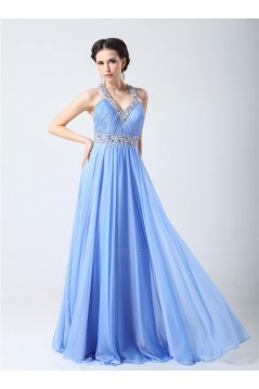 A-Line V-Neck Beaded Long Chiffon Prom Evening Formal Party Dresses ED010704