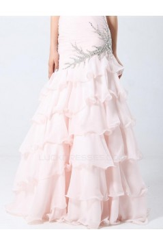 Trumpet/Mermaid Sweetheart Beaded Long Pink Prom Evening Formal Party Dresses ED010705