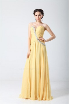 A-Line Sweetheart Beaded Long Yellow Chiffon Prom Evening Formal Party Dresses ED010706