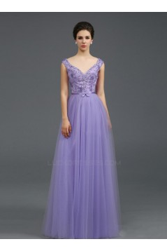 A-Line Off-the-Shoulder Beaded Long Prom Evening Formal Party Dresses ED010708