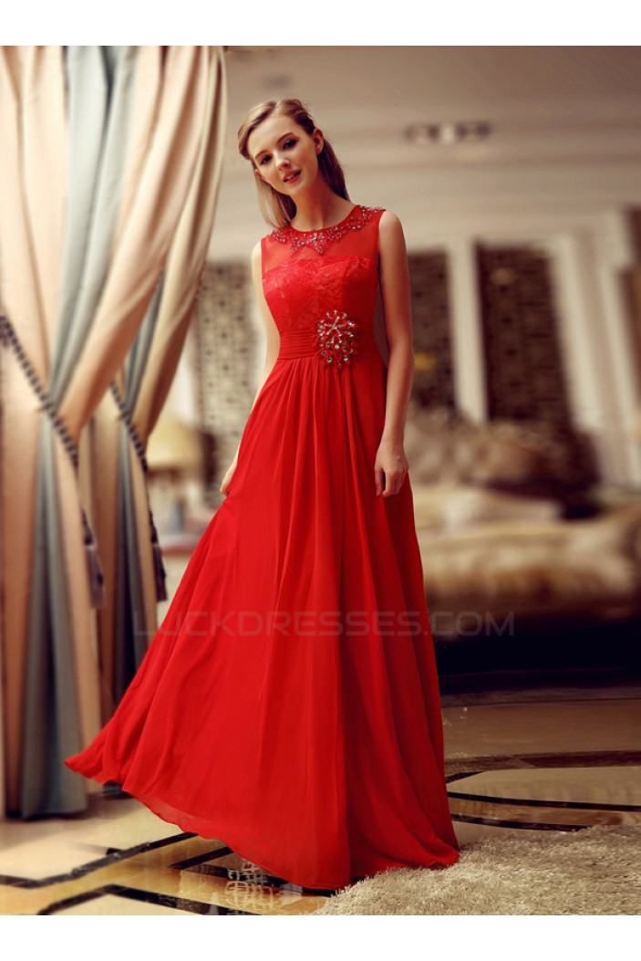 A-Line Jewel Beaded Long Red Lace and Chiffon Prom Evening Formal Party Dresses ED010709