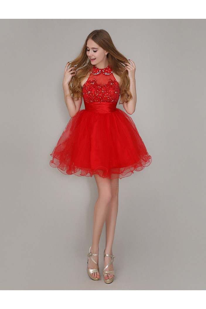 Short/Mini Red Beaded Prom Evening Formal Party Dresses ED010712