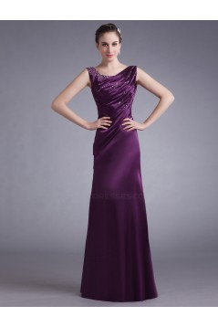 Sheath Beaded Long Purple Prom Evening Formal Party Dresses ED010715