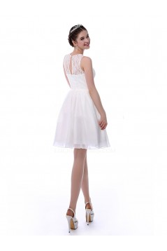 A-Line Short White Lace and Chiffon Prom Evening Formal Party Bridesmaid Dresses ED010717