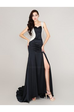 Sexy Backless Beaded Long Black Prom Evening Formal Party Dresses ED010718