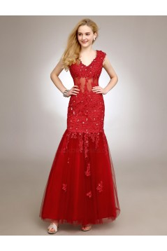 Trumpet/Mermaid V-Neck Long Red Beaded Applique Prom Evening Formal Party Dresses ED010719