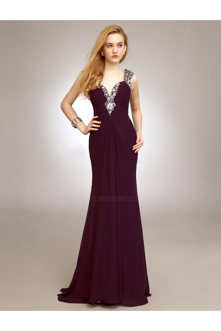 Sheath/Column Straps Beaded Long Chiffon Prom Evening Formal Party Dresses ED010720